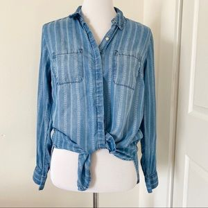 Adorable Chambray Printed Stripe Button Down